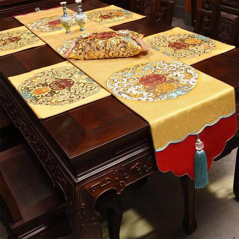 皇庭布坊禅意桌旗中式中国风古典中式桌布客厅餐桌电视柜布
