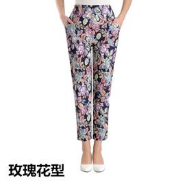 夏季薄款中老年松紧带宽松休闲长裤花色裤子奶奶装冰丝裤老人女裤