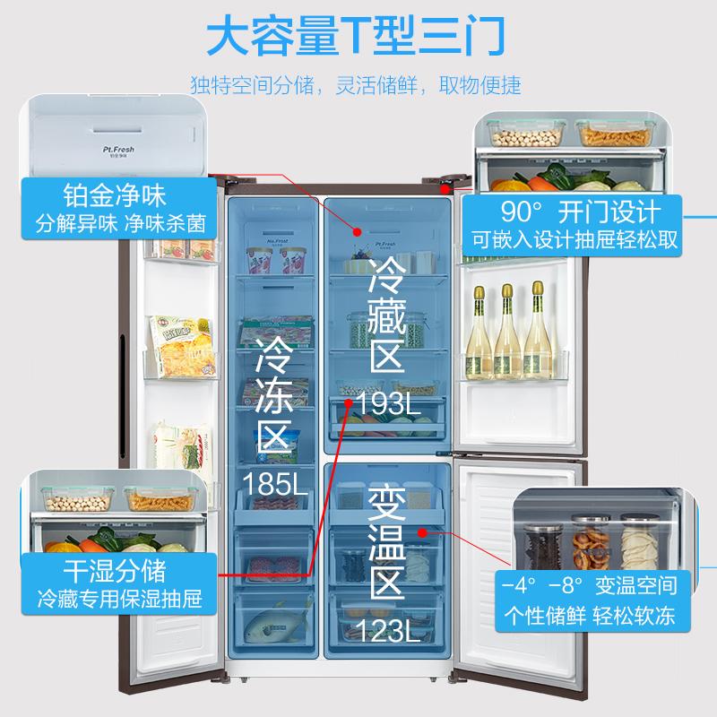 电冰箱家用变频三开门对开门节能冰箱 E 501WKGPZM BCD 美 Midea