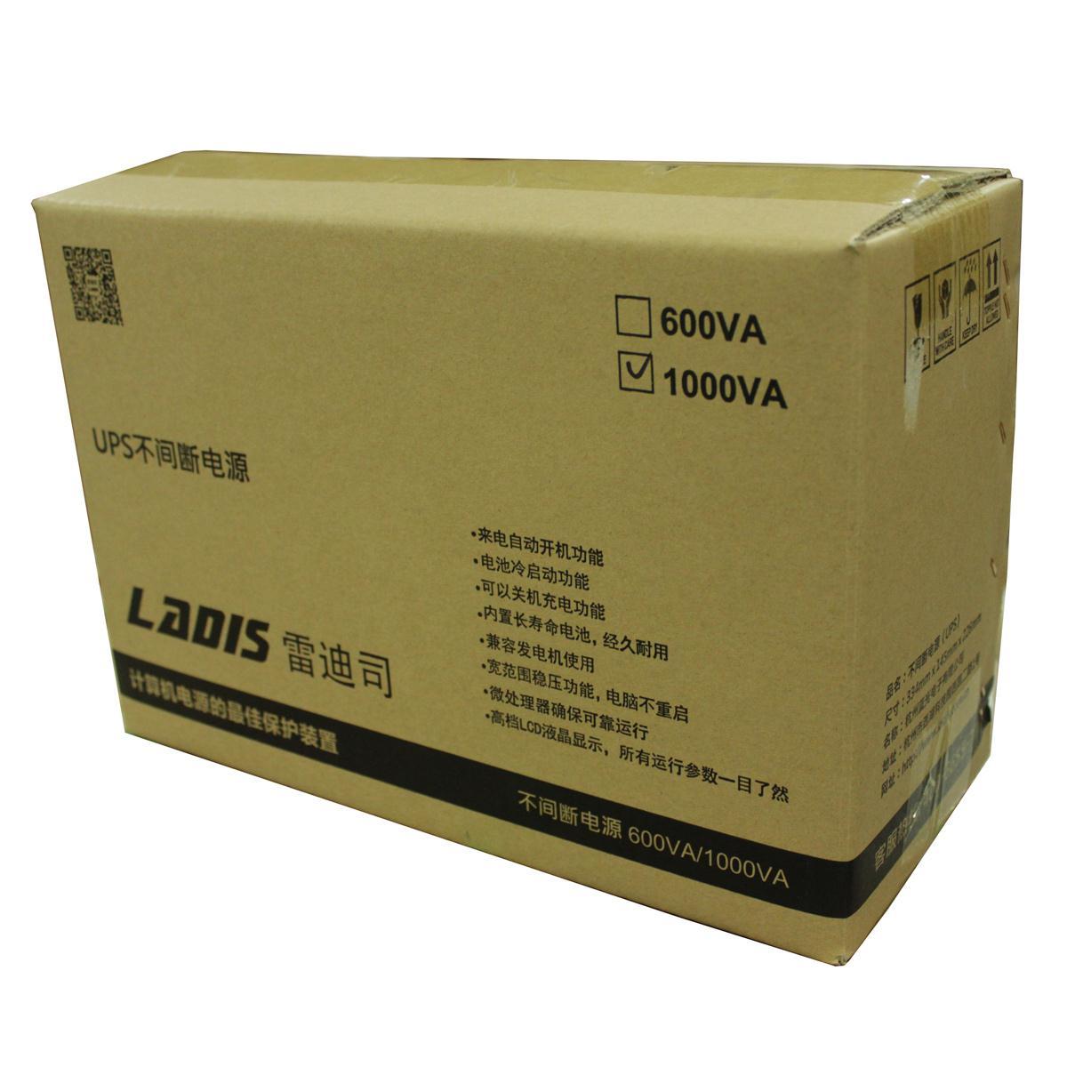 雷迪司UPS不间断电源H1000M 1000VA600W电脑服务器单机备用40分钟
