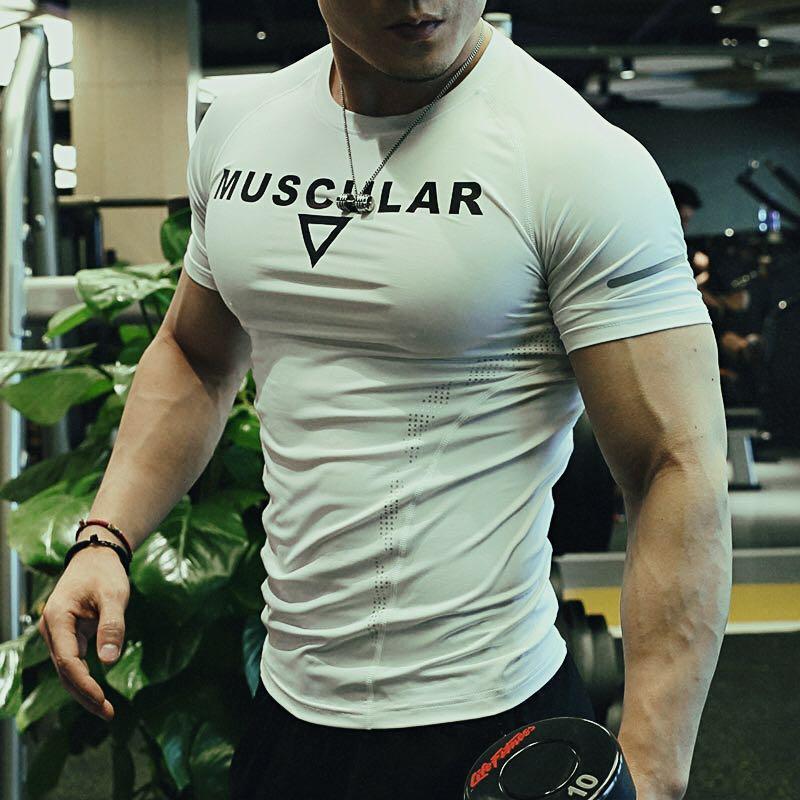 紧身衣男账动上衣训练服吸湿速干透气器械健身压缩衣服短袖教练服