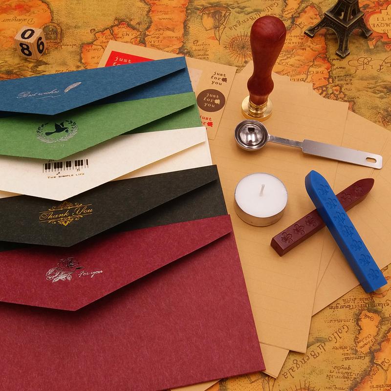 信封古风情书高档复古典雅婚礼烫金古典西式5号信纸信封套装包邮