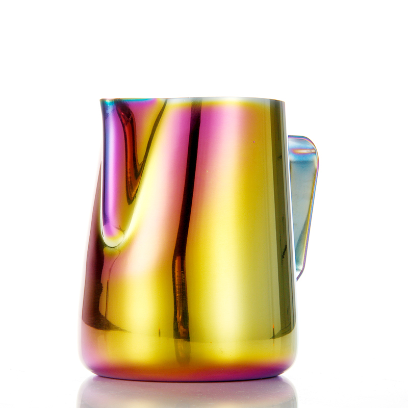 CAFEDE KONA拉花杯 尖嘴不锈钢炫彩色咖啡奶泡壶 花式咖啡拉花缸