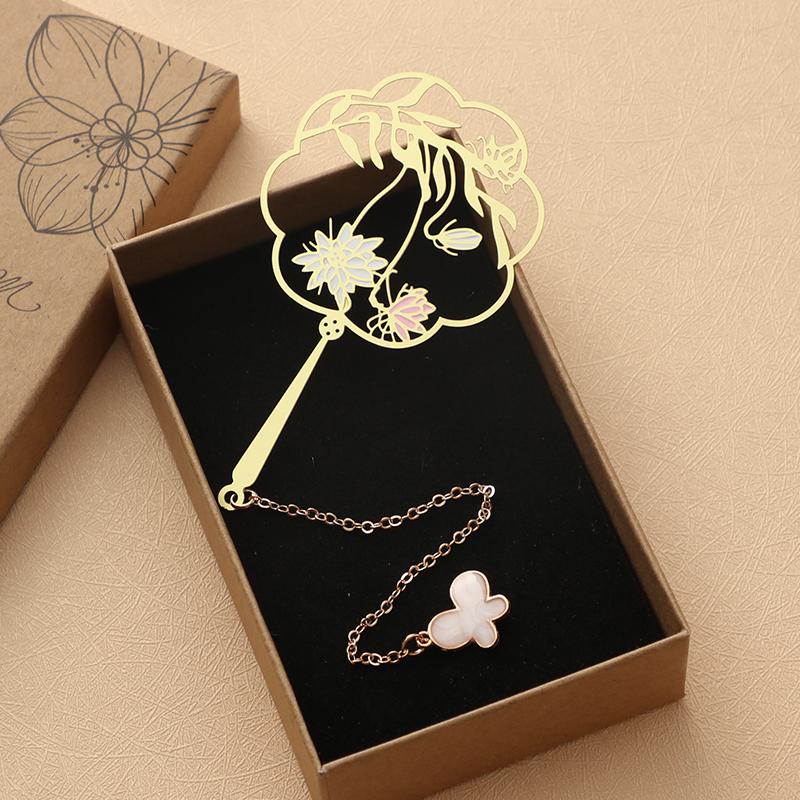 古典文艺创意樱花中国风扇面定制书签