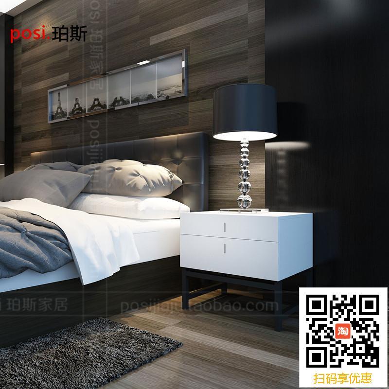 现代卧室烤漆床头柜储物柜 黑色铁架脚床边柜时尚简约二斗柜定制
