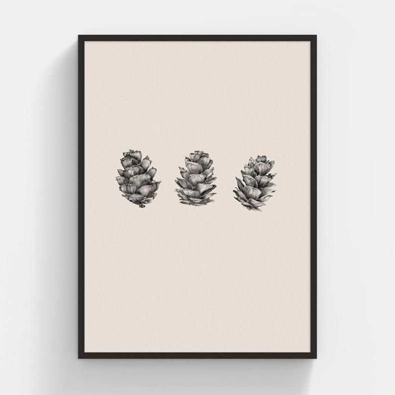 印物所出品 手印限量版画 「松果系列」 卧室客厅装饰画