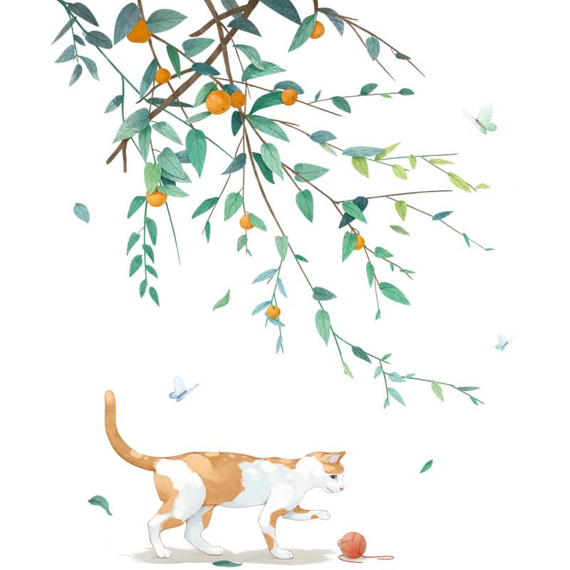 植物猫咪墙贴房间墙壁贴画宿舍改造 ins 客厅沙发背景墙面装饰贴纸