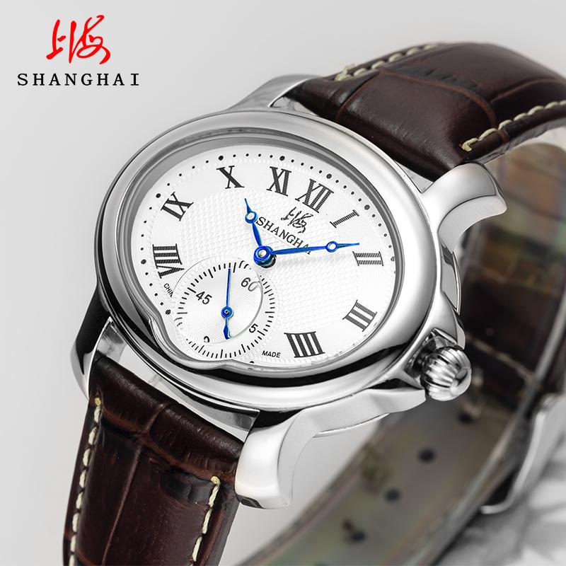 上海手表官方正品新品机械表皮表带手表男士国产腕表新概念3056
