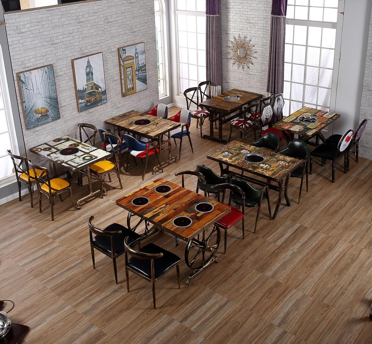 商用家用实木火锅桌子
