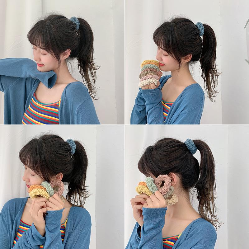 韩版清新毛绒发圈简约头绳可爱少女网红个性森系发绳皮筋扎头头饰