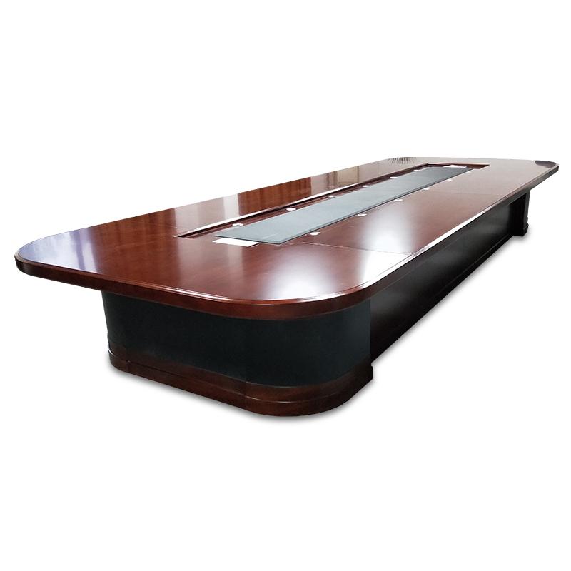 大型培训实木皮油漆多人开会桌椭圆形桌椅组合 会议室会议桌长桌