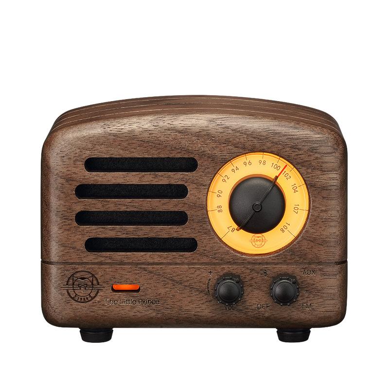 创意复古可爱无线蓝牙小音箱便携式迷你小音响家用户外原木质收音机低音炮 猫王小王子胡桃木 2 MW 猫王收音机