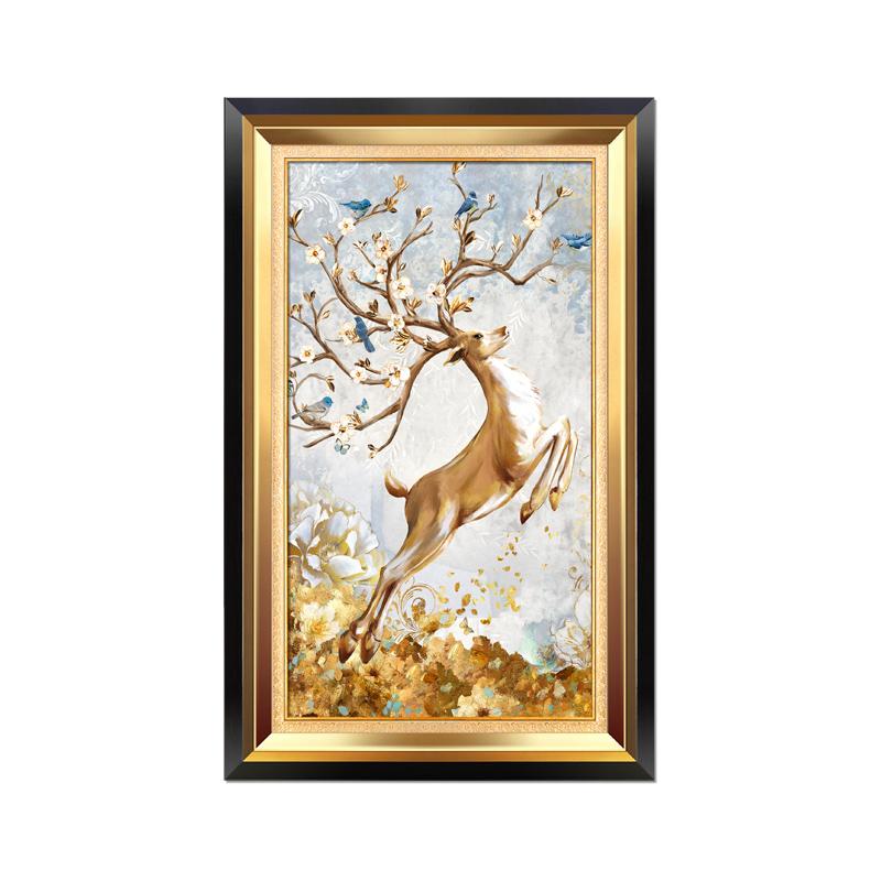 美式玄关装饰画竖版大气入户家居壁画走廊过道欧式风格挂画发财鹿