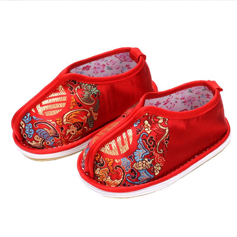 0-3岁宝宝手工布鞋春秋款千层底单鞋男女儿童唐装鞋红虎头鞋