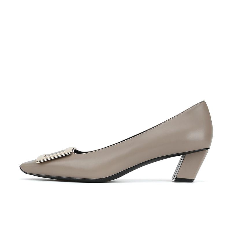 新款真皮方扣方头浅口粗跟单鞋女高跟鞋 版型绝了 苏茵茵 sheii