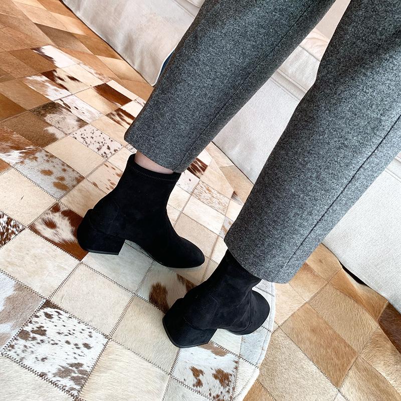 方头方跟弹力短靴女袜子靴瘦瘦靴 SW 新款 福利款 苏茵茵 sheii