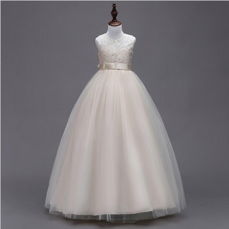 女童礼服公主裙花童婚纱儿童晚礼服大童钢琴表演出服中长款白色夏