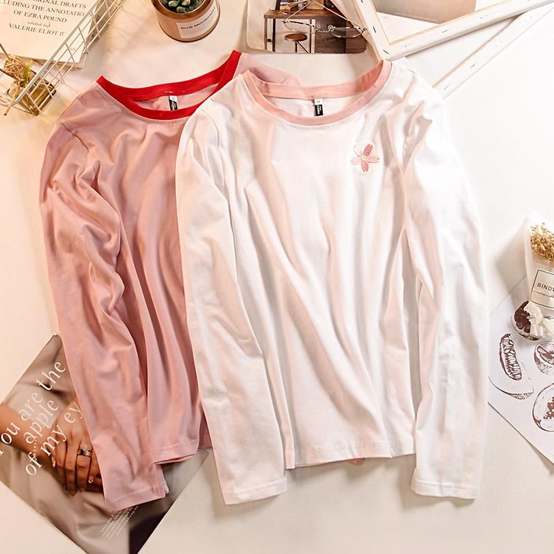 新款学生可爱小清新上衣女打底衫 2018 恤女短袖 t 夏装纯棉白色粉色