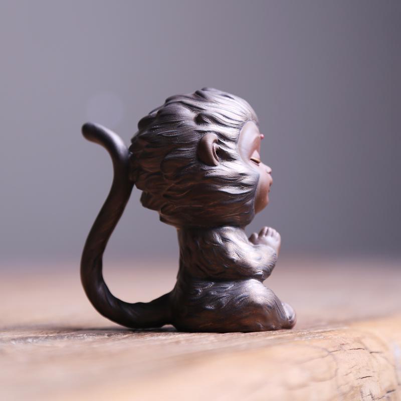紫砂精品茶宠齐天大圣小猴子悟空小茶玩 禅意小摆件茶艺茶盘装饰