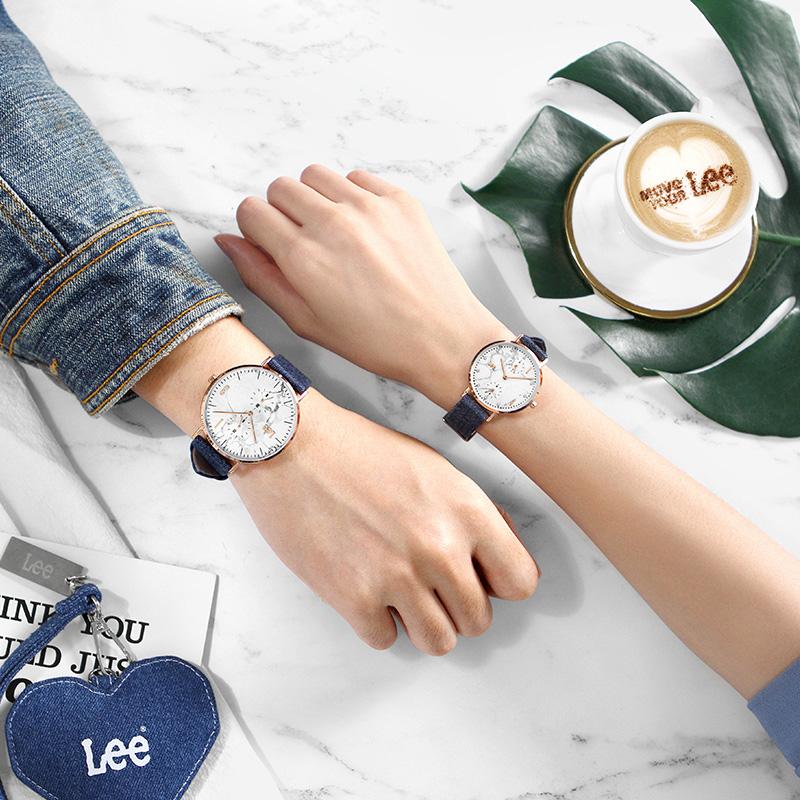 1314 情侣手表一对男女款牛仔布带潮流腕表正品 明星同款 大理石 Lee