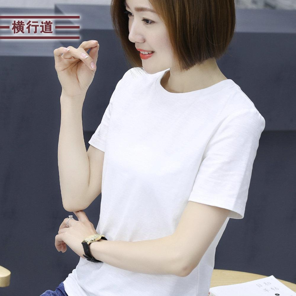 2019夏季白色竹节棉短袖t恤女纯棉圆领半袖黑色体恤大码宽松上衣