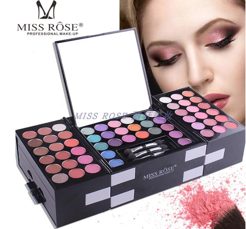 圣诞爆款MISS ROSE超大彩妆盘腮红珠光哑光钢琴眼影盘化妆盒包邮
