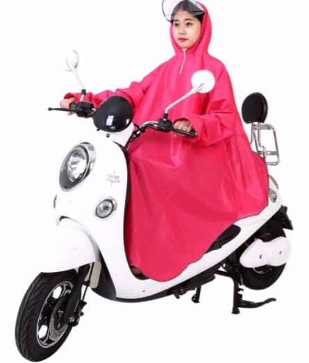 夜光抗风大帽檐摩托车雨衣电动车带袖子单人雨披加大加厚男女大人