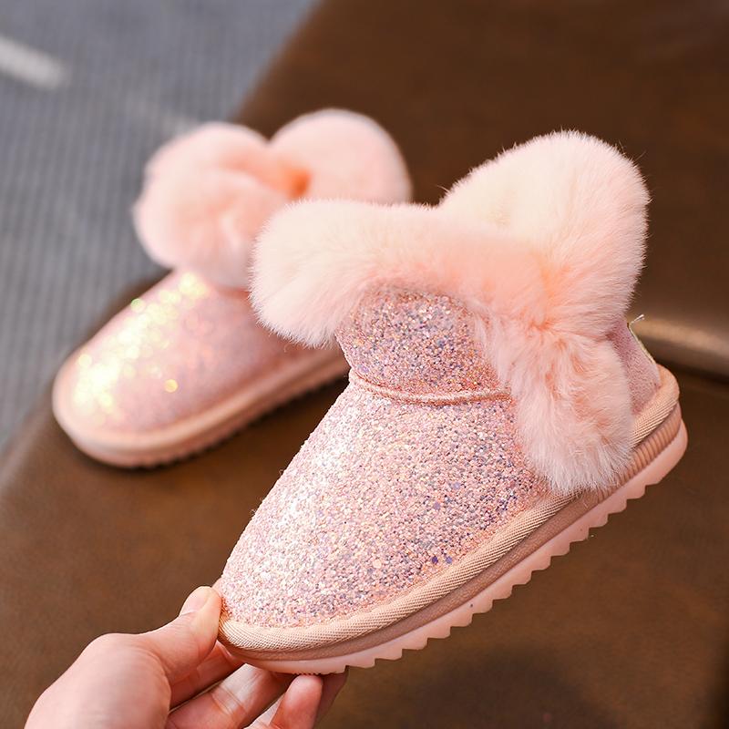 女童雪地靴2019新款冬季6加绒5儿童亮片棉靴1-3-13岁中大童短靴子