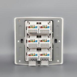 香槟金色86型6口电脑插座面板六位网线插座网络面板插盒免打线盒
