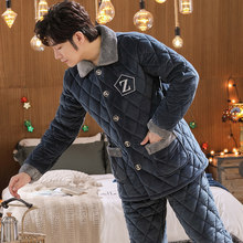Three men pajamas thick coral velvet quilted warm cashmere flannel tracksuit suit spring and winter models