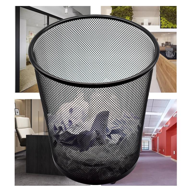 家用垃圾桶筒卫生间厨房卧室酒店茶几办公室无盖纸篓大号铁丝网