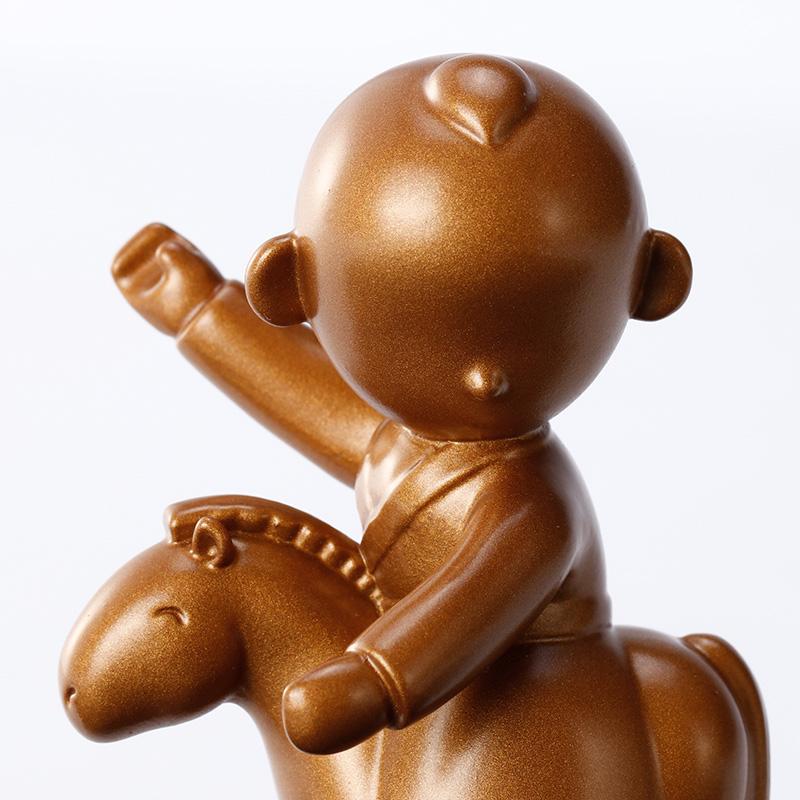 生日礼物 故宫婴戏图铜摆饰事事如意马到成功摆件礼品故宫官方