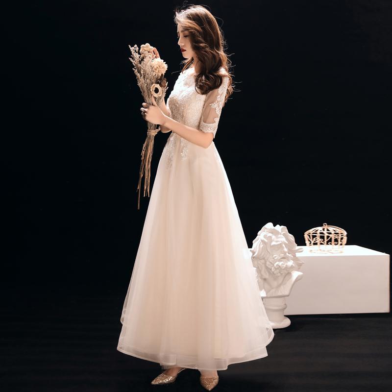 晚礼服女宴会2019新款高贵优雅长款伴娘服聚会名媛连衣裙粉色派对