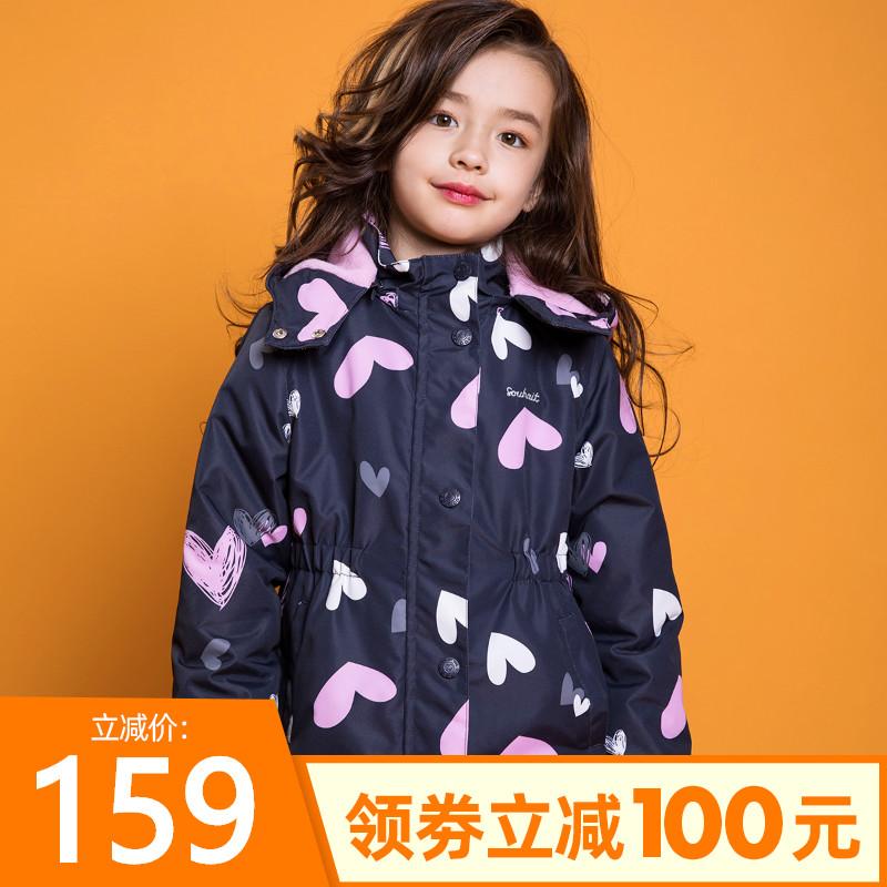 4.9分,防风防水,加绒保暖,18款可选:水孩儿 女童 2020秋冬款户外冲锋衣外套