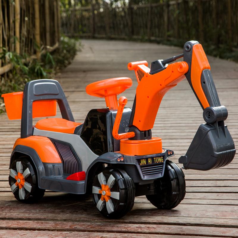 米贝多儿童电动挖掘机玩具车可坐可骑大号音乐男孩挖土机学工程车