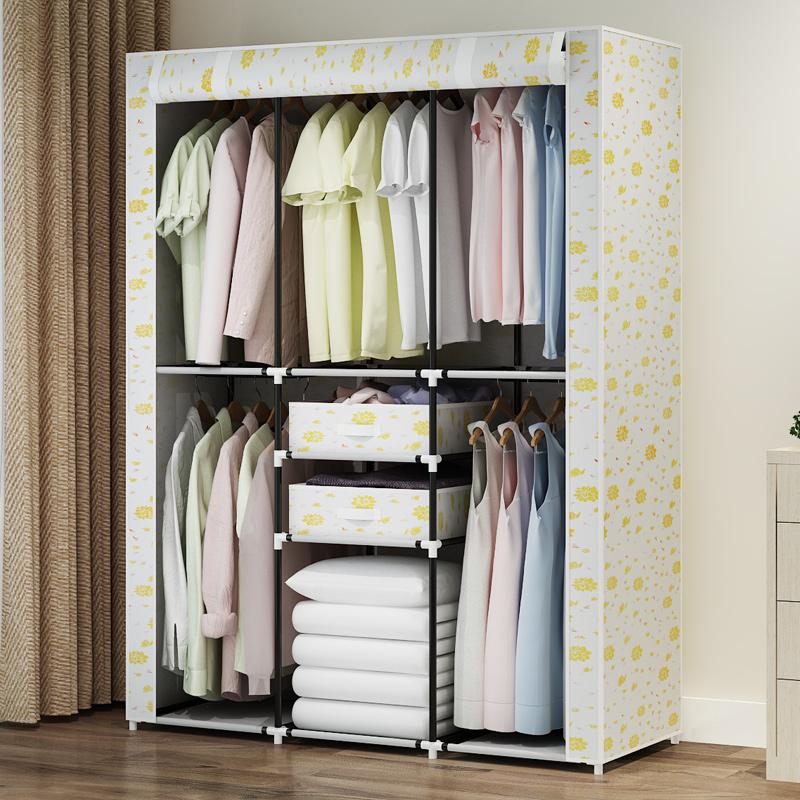 冠达星布衣柜 简约现代多功能经济型不锈钢管双人简易衣柜衣橱