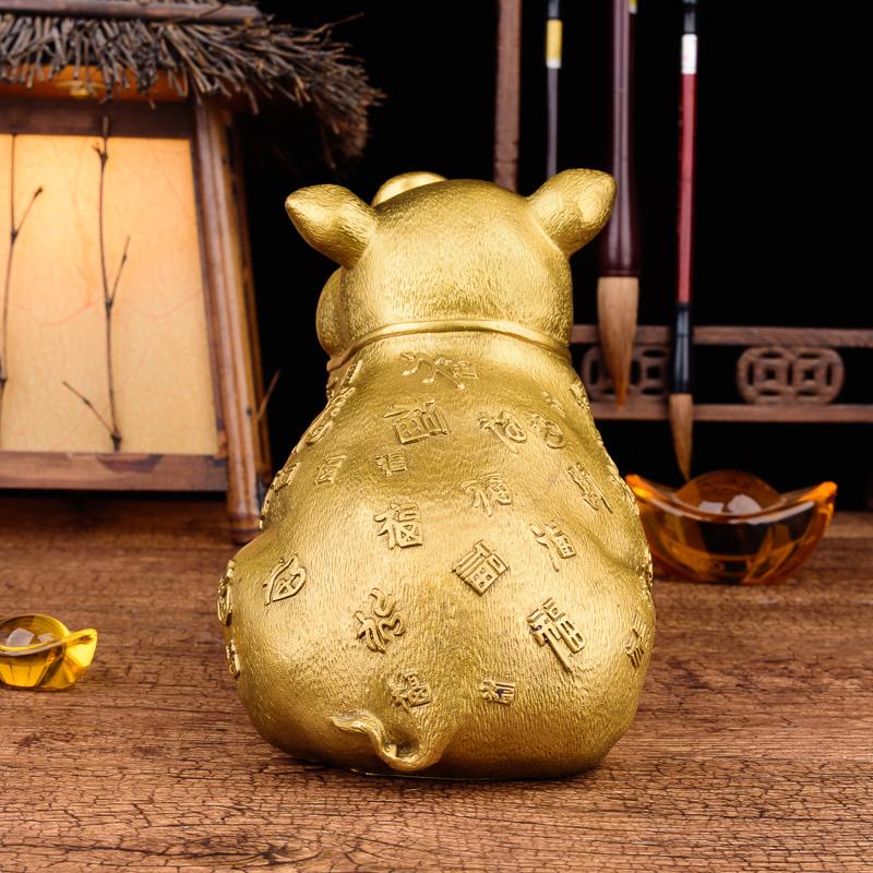 百福猪生肖猪铜猪摆件客厅招财风水摆设丁财两旺 猪摆件 百纳源