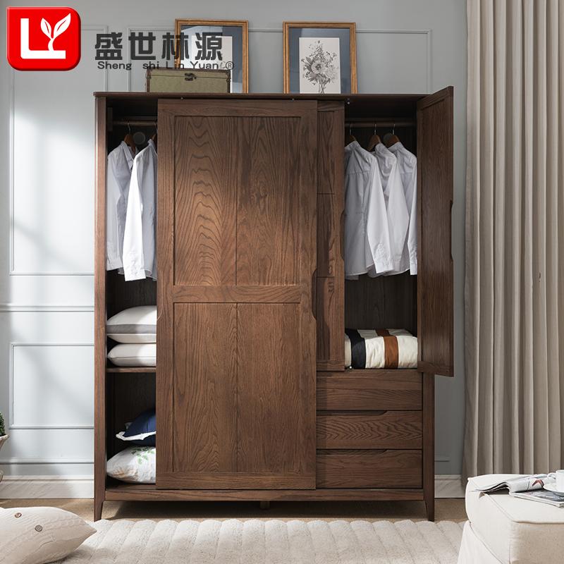 实木衣柜美式推拉滑移门卧室两开门收纳衣橱储物简易组装原木家具