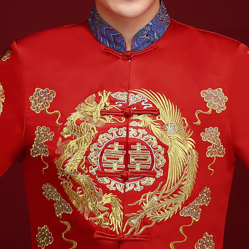 秀禾服男新郎服中式结婚礼服龙凤褂唐装男装秀禾男士大码秀和男款