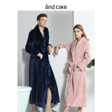 Nightgown women's winter coral fleece bathrobe couple plus velvet thickening long flannel pajamas men's autumn and winter models spring