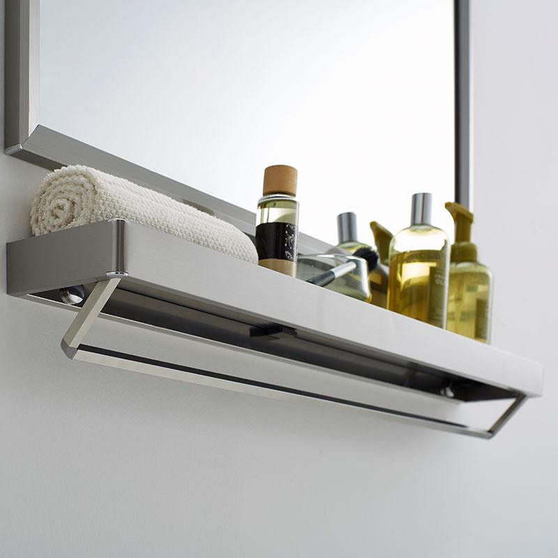 浴室镜子镜柜带置物架壁挂卫生间卫浴化妆洗手间不锈钢洗漱台厕所