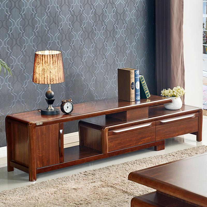 實木電視櫃現代簡約小戶型迷你臥室簡易新中式茶几電視櫃組合客廳