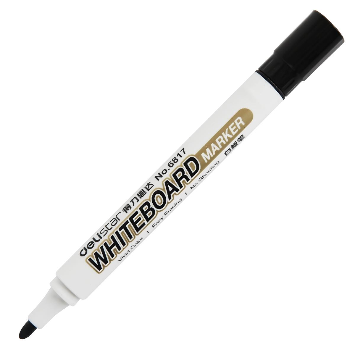 得力6817单头白板笔可擦拭水性笔黑板书写笔无毒儿童画板笔黑色红色蓝色得力白板笔得力可擦白板笔办公用品