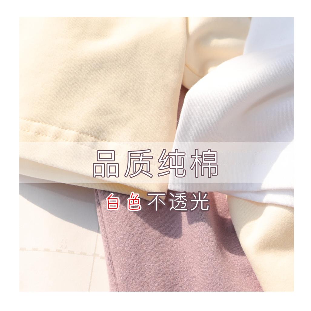 2020年夏欧货白色紫色t恤女圆领宽松纯白t恤女纯色纯棉短袖雾霾蓝