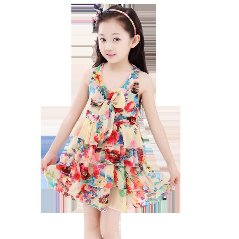 女童沙滩裙2019夏装雪纺吊带裙儿童裙子中大童度假女孩公主连衣裙