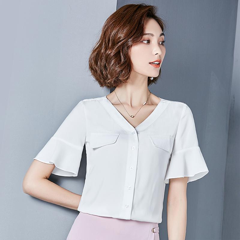 白衬衫女短袖夏季2017新款韩版百搭雪纺衫韩范宽松上衣v领衬衣寸