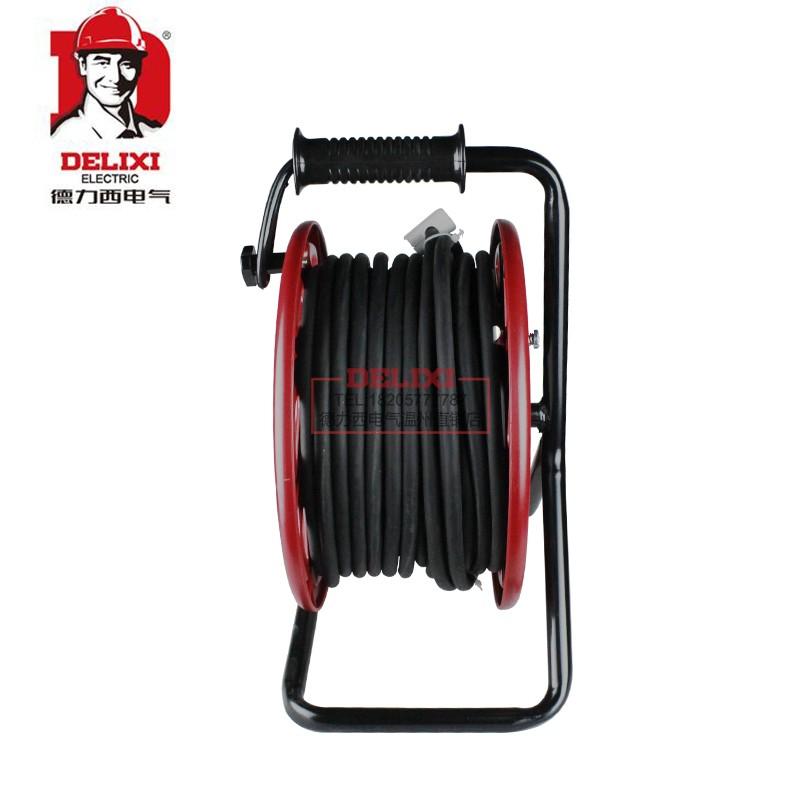 拖线盘收线器工程手提电缆盘 16A 220V 德力西移动电缆盘带线绕线盘