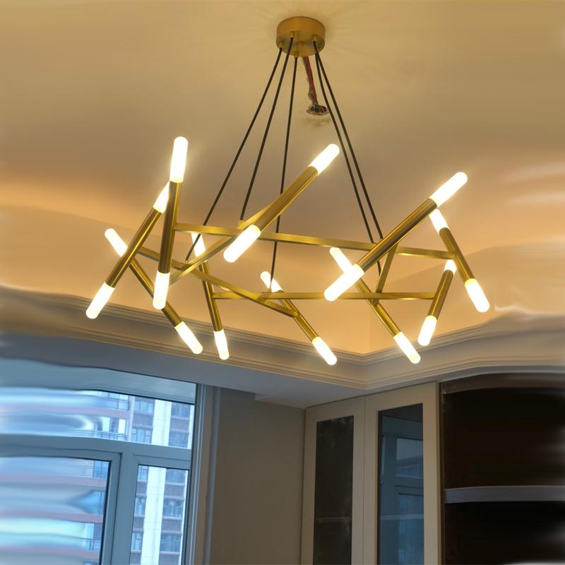 枝形艺术黄铜美式分子全铜吊灯