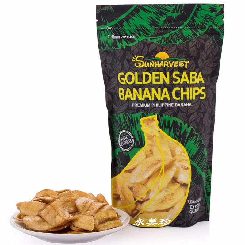 箱包邮 袋 20 200g 菲律宾进口香蕉片杉哈维斯焦糖味金莎巴香蕉脆片