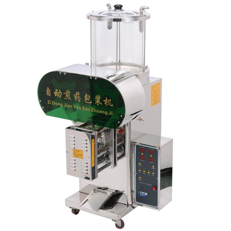 鼎历自动煎药包装机全自动数控中药液包装机不锈钢机身钢化玻璃筒